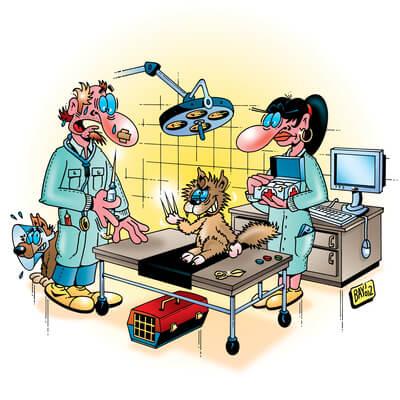 Tierarzt Praxis Comic-Bild